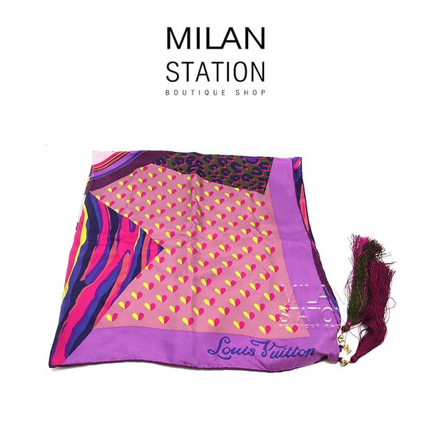 【台中米蘭站】LV紫色長頸鹿方形絲巾