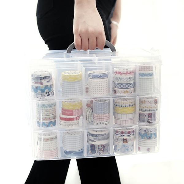 【BlueCat】加大款 30格 可拆式 半透明手提紙膠帶 收納盒 化妝盒 置物盒