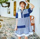 洋裝 韓版條紋拼接襯衫V領短袖寬鬆潮流連身裙 S-L #mf230 ❤卡樂❤