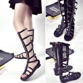 涼靴 鏤空涼鞋新款韓版百搭高筒涼靴子露趾平底羅馬鞋