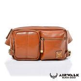 AIRWALK-【禾雅】黑金系列-雅緻爵士雙口袋輕巧側肩包-質感棕A411411552