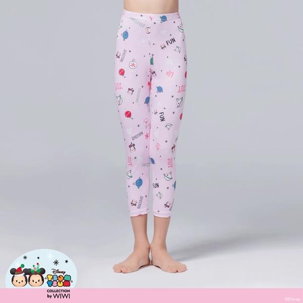 【WIWI】耶誕米奇米妮TsumTsum溫灸刷毛九分發熱褲(戀愛粉 童100-150)