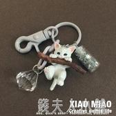 小貓鑰匙扣女貓咪公仔韓國可愛創意汽車鑰匙錬包包掛飾書包掛件 錢夫人小鋪