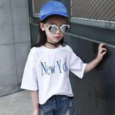 白色字母短袖T恤衫中大童寬鬆休閒汗衫