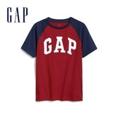 Gap男童 Logo拼接袖圓領短袖T恤 573684-摩登紅色