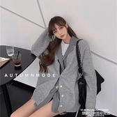 熱賣針織開衫 針織衫女假兩件中長款寬鬆外穿灰色毛衣上衣秋冬新款開衫外套 夏季新品