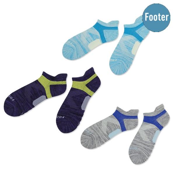 FOOTER除臭襪 繽紛花紗輕壓力足弓船短襪 灰/紫/淺藍 24~27cm【德芳保健藥妝】