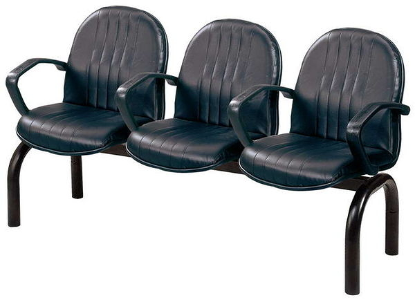 HP441-07 四人座扶手排椅(黑皮)(直線C)