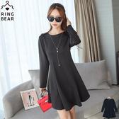 洋裝--氣質滿載圓領後拉鍊修身公主線剪裁連身素面長袖洋裝(黑XL-4L)-A250眼圈熊中大尺碼