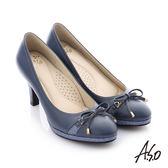 A.S.O 減壓美型 真皮蝴蝶結奈米高跟鞋 深藍