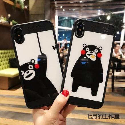 【SZ15】iPhoneX手機殼 鏡面熊本熊 全包軟殼 iPhone7/8plus手機殼 iPhone6s手機殼