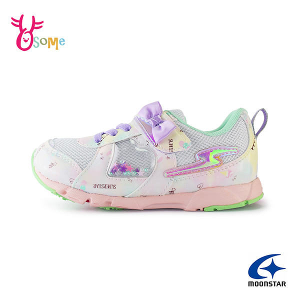 Moonstar月星童鞋 女童運動鞋 競速系列 抓地力強 足弓鞋墊 耐磨底 跑步鞋 中大童 L9605#白紫◆奧森