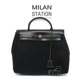 【台中米蘭站】HERMES HERBAG黑色皮革混布手提包