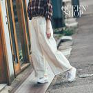 Queen Shop【04101257】腰抽繩下腳鬚邊設計大寬褲*預購*