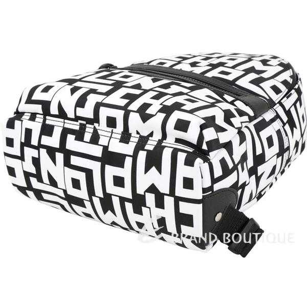 LONGCHAMP LGP系列 小型 黑白字母印花手提後背包 1930014-37