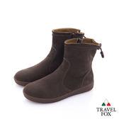 TRAVEL FOX(女)自在 反毛皮素色短靴 - 深咖啡