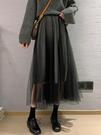 網紗裙中長款女高腰a字顯瘦半身裙氣質長裙仙女裙蓬蓬裙新款春季 貝芙莉