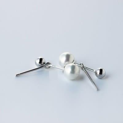 925純銀耳環(耳針式)-簡約時尚珍珠生日七夕情人節禮物女飾品73dr60[時尚巴黎]