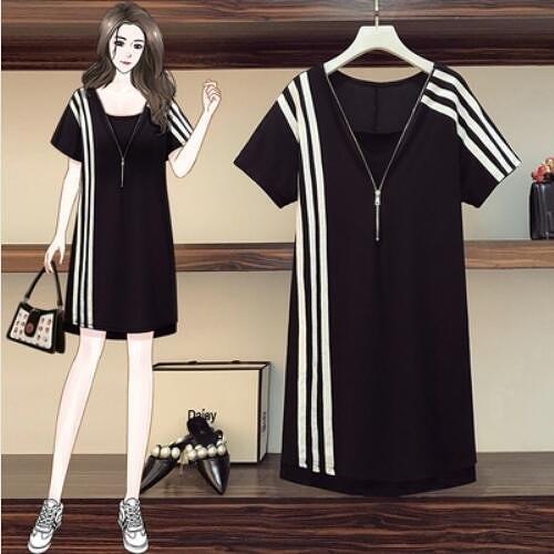裙子洋裝休閒裙中大尺碼L-5XL韓版寬鬆拼接假兩件運動風連身裙R06B-9503.依品國際
