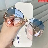 太陽眼鏡 2021新款無邊框切邊墨鏡女韓版潮網紅圓臉大框顯瘦防紫外線太陽鏡 薇薇