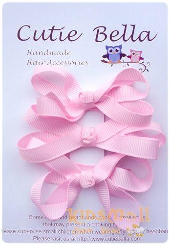 Cutie Bella蝴蝶結髮夾三入組-Pink
