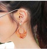 耳環 韓國氣質進口夸張大圓圈琥珀色亞克力圓環玳瑁耳環耳墜復古耳飾 巴黎春天