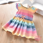 兒童洋裝 女童童裝夏季女寶寶彩虹條紋背心裙兒童甜美飛袖翅膀連身裙潮【快速出貨】