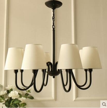 美式鄉村鐵藝吊燈 北歐臥室書房餐廳客廳燈  (8頭)