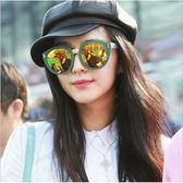 現貨-韓版經典方框反光水銀太陽眼鏡彩膜墨鏡范冰冰17