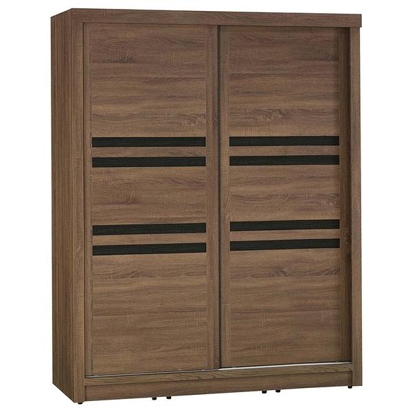 【森可家居】克德爾5x7尺衣櫥 8JX318-8 衣櫃 左右推拉門 木紋質感 北歐工業風
