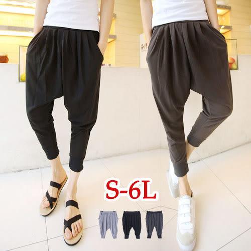 BOBO小中大尺碼【10621】寬版鬆緊褲頭飛鼠褲-S-6L-共3色