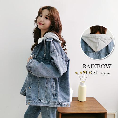 率性寬版連帽牛仔外套-O-Rainbow【A99181】