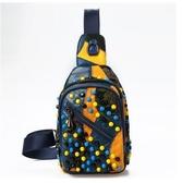 拼接小羊皮新款朋克風鉚釘胸包運動旅行斜背包時尚百搭女包包-享家生活館