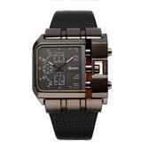 oulm歐鐳手表男 西部狂野機車手表男超大霸氣方形個性哈雷手表