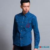 【5折限定】麻葉刺繡長袖襯衫(深藍) - BLUE WAY 日本藍