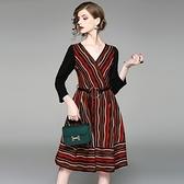 洋裝-九分袖秋季V領彩色條紋女連身裙73of197【巴黎精品】