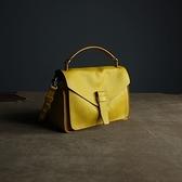 真皮手提包-牛皮多用途純色方型女肩背包6色73uy3[巴黎精品]