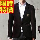 西裝外套  男韓版 西服 風靡時尚-金絲絨英倫風時髦自信65b11【巴黎精品】