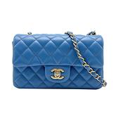 【台中米蘭站】全新品 CHANEL Mini Coco 羊皮復古金鍊斜背包-20cm(A69900-藍)