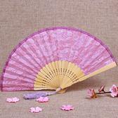 全館83折 一品蘭中國風古典黑色蕾絲復古女扇子古風折扇鏤空日式和風竹扇小