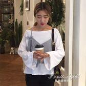 假兩件上衣 韓版秋女學生上衣寬鬆一字領條紋吊帶拼接長袖假兩件T恤 果果輕時尚