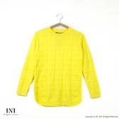 【INI】柔感舒適、格紋蝴蝶結織紋百搭針織毛衣.黃色