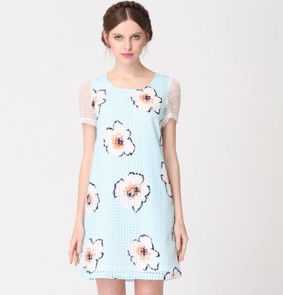 卡樂store...中大尺碼透視拼接歐根紗印花連身裙短洋裝 XL-4XL #zr1512