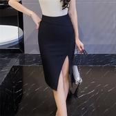 及膝裙 修身 包臀6756#包臀裙春夏韓版女裝半身裙修身高腰開叉中長裙T621-B快時尚