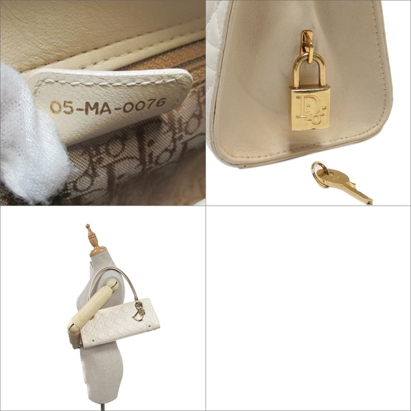 Dior 迪奧 米色藤格紋牛皮Cannage縫線肩背包 05-MA-0076 【BRAND OFF】