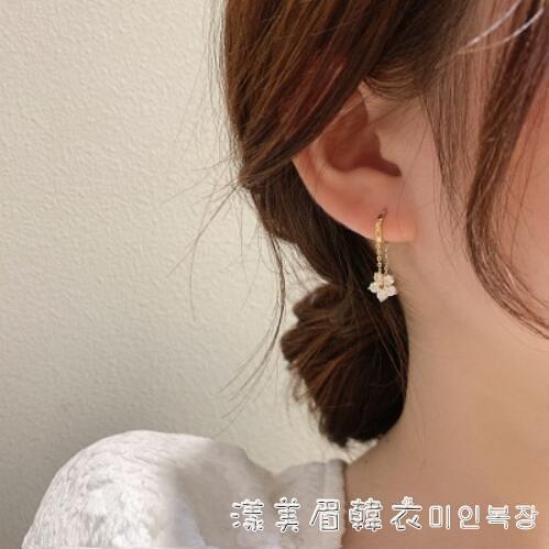 韓國東大門鏈條花朵925耳環早春韓國閃鉆耳環小耳釘耳墜精致款女 美眉新品