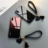 小米 9 手機殼 玻璃鏡面防摔保護套 漸變時尚 個性簡約男女款 創意手繩 全包手機套 小米9