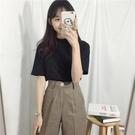 小高領短袖T恤女新款夏裝韓版修身顯瘦純色五分半袖黑色上衣