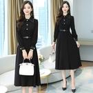長袖洋裝`輕熟風氣質小心機法式復古長裙黑...