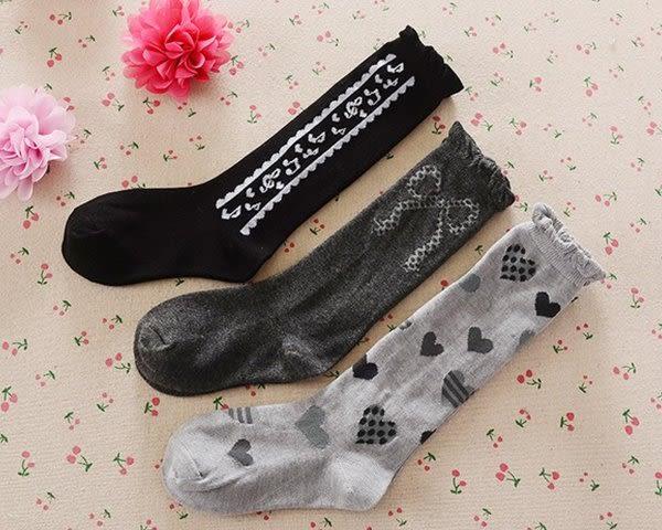 春秋冬款 過膝中筒襪子 女童長筒襪 兒童高筒棉襪 灰色系 3雙/組
